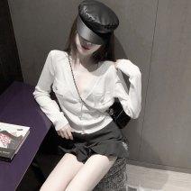 Fashion suit Autumn 2020 S. M, average size White cardigan, black shorts