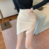 skirt Winter of 2019 S,M,L Off white, black Short skirt Versatile High waist A-line skirt Solid color Type A 18-24 years old 51% (inclusive) - 70% (inclusive) other cotton