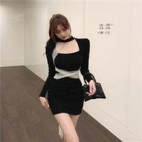 Dress Winter 2020 black Average size Short skirt singleton  Long sleeves commute Crew neck High waist Solid color Socket One pace skirt routine Type A Frenulum