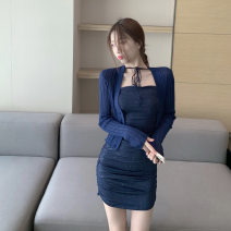Dress Spring 2021 Suspender skirt, cardigan Average size Short skirt Long sleeves Others 30% and below other other