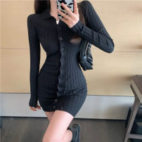 Dress Winter 2020 Black dress Average size Short skirt singleton  Long sleeves commute Polo collar High waist Solid color Single breasted One pace skirt routine 18-24 years old Type A 51% (inclusive) - 70% (inclusive) other