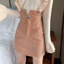 skirt Winter 2020 S,M,L Purple, green, black, khaki Short skirt commute High waist skirt Solid color Type A 18-24 years old M-418 Other / other Retro