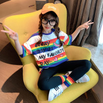 suit Rabbit treasure warm Han Fan stripe cartoon T-shirt + Leggings 120cm,130cm,140cm,150cm,160cm,170cm female summer Korean version Short sleeve + pants 2 pieces Thin money There are models in the real shooting Socket nothing stripe cotton children Expression of love TZ0453 Class B Chinese Mainland