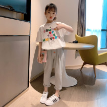 suit Rabbit treasure warm Han Fan simple casual suit 110cm,120cm,130cm,140cm,150cm,160cm,170cm female summer Korean version Short sleeve + pants 2 pieces Thin money There are models in the real shooting Socket nothing Cartoon animation cotton children Expression of love TZ0334 Class B Huzhou City