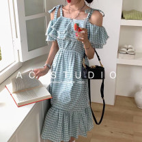 Dress Summer 2020 Blue grid, green grid, pink grid Average size Mid length dress singleton  Sleeveless commute One word collar High waist lattice zipper Ruffle Skirt Lotus leaf sleeve Others Type A Retro Open back, Ruffle 2515# 81% (inclusive) - 90% (inclusive) brocade cotton