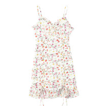 Dress Summer 2021 Safflower on white background S,M,L Short skirt singleton  Sleeveless commute V-neck High waist Broken flowers Socket One pace skirt other camisole 18-24 years old Type H Retro fungus , printing , Ruffles JIN030406