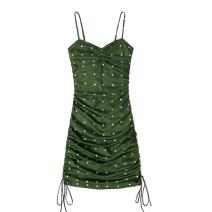 Dress Summer 2021 Dark green S,M,L Short skirt singleton  Sleeveless commute V-neck High waist Dot Socket One pace skirt other camisole 18-24 years old Type H Retro Fold, print