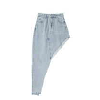 skirt Summer 2020 S,M,L blue Mid length dress Versatile High waist Irregular Solid color Type H 18-24 years old Pocket, asymmetric, button