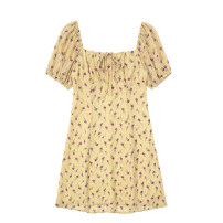 Dress Summer 2021 Deciduous yellow S,M,L Short skirt singleton  Short sleeve commute square neck High waist Broken flowers One pace skirt puff sleeve Others 18-24 years old Type H Retro Lace up, printed JIN041009
