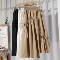 skirt Spring 2021 Average size Khaki, white, black Mid length dress commute High waist A-line skirt Solid color Type A 18-24 years old other cotton Frenulum