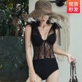 one piece  Make up the world M,L,XL black One piece flat corner swimsuit Steel strap breast pad Nylon, spandex female Sleeveless Casual swimsuit