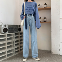 Jeans Spring 2021 Light blue with belt S,M,L,XL trousers High waist Wide legged trousers routine 18-24 years old Washing, flanging, zipper, button, taping, multi pocket, others light colour Jie Huiting