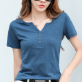 T-shirt Dark green, blue, purple, white S,M,L,XL,2XL,3XL Summer 2020 Short sleeve V-neck easy Regular routine commute cotton 96% and above 18-24 years old Korean version classic Solid color Jie Huiting 3D, button