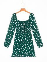 Dress Summer 2020 green S,M,L Short skirt singleton  Long sleeves commute square neck High waist Socket Ruffle Skirt puff sleeve 18-24 years old 51% (inclusive) - 70% (inclusive)
