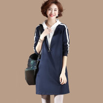 Women's large Autumn 2020 Navy Blue Large L, large XL, large XXL, large XXL, large XXXXL, large M Dress Fake two pieces commute easy Socket Long sleeves Solid color Korean version Hood other routine Other / other zipper 81% (inclusive) - 90% (inclusive) Middle-skirt