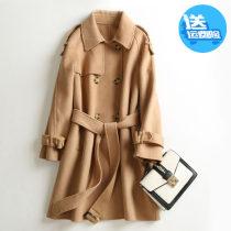 Sale Pure wool two-sided overcoat double-breasted Windbreaker Frenulum little chap loose coat 2019 Autumn and winter Medium length Women's wear