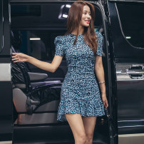 Dress Summer of 2019 blue 155/S,160/M,165/L Short skirt singleton  Short sleeve commute Crew neck middle-waisted Leopard Print other Ruffle Skirt other Others 25-29 years old Type X Korean version Pleated, zipper 91% (inclusive) - 95% (inclusive) other polyester fiber