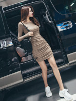 Dress Spring of 2019 Short skirt singleton  Long sleeves commute Crew neck High waist Solid color Socket other routine Others 25-29 years old Type O Korean version 51% (inclusive) - 70% (inclusive) polyester fiber