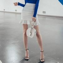 skirt Spring 2021 S,M,L White, Khaki Short skirt Versatile High waist skirt Solid color Type H 25-29 years old QD6129 51% (inclusive) - 70% (inclusive) other polyester fiber Ruffles, ruffles