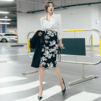 skirt Autumn 2020 S,M,L Decor Middle-skirt Versatile High waist skirt Decor Type H 25-29 years old QC4753 More than 95% other polyester fiber zipper
