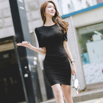 Dress Summer of 2018 Black, sky blue 155/S,160/M,165/L Short skirt singleton  Short sleeve commute Crew neck High waist Solid color zipper One pace skirt routine Others 25-29 years old Type O Korean version Pleats, buttons 51% (inclusive) - 70% (inclusive) other other