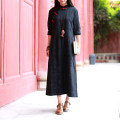 Dress Spring 2021 black M, L longuette singleton  Long sleeves commute stand collar Loose waist Solid color Socket A-line skirt routine Oblique shoulder 35-39 years old Type A Chaos in the south of the Yangtze River ethnic style Button, pocket F1122 More than 95% other cotton