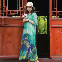 Dress Summer 2021 green M, L Mid length dress singleton  elbow sleeve commute stand collar Loose waist Decor Socket A-line skirt routine Others 35-39 years old Type A Chaos in the south of the Yangtze River ethnic style Pocket, button, print 31% (inclusive) - 50% (inclusive) other hemp