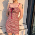 Dress Summer of 2019 Brownish red S,M,L Short skirt singleton  commute High waist lattice zipper A-line skirt camisole 18-24 years old Type H Retro Pleats, bandages More than 95% other polyester fiber