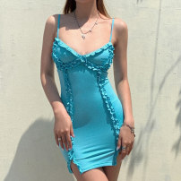 Dress Summer 2020 blue S,M,L Short skirt singleton  Sleeveless street V-neck High waist Solid color Socket One pace skirt camisole 18-24 years old Type H Open back, Auricularia auricula D1736876 91% (inclusive) - 95% (inclusive) polyester fiber Europe and America