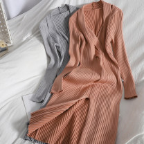 Dress Spring 2021 Grey, orange powder Average size longuette singleton  Long sleeves commute V-neck High waist Solid color Socket A-line skirt routine Type A Korean version 81% (inclusive) - 90% (inclusive) knitting