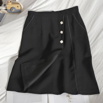 skirt Spring 2021 S,M,L,XL black Middle-skirt Versatile High waist A-line skirt Solid color Type A 25-29 years old 71% (inclusive) - 80% (inclusive) other Button, zipper