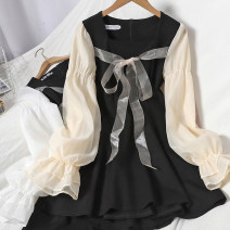 Dress Spring 2021 Apricot, white M, L Mid length dress singleton  Long sleeves commute square neck High waist other zipper A-line skirt puff sleeve Type A Korean version Bowknot, stitching, bandage 71% (inclusive) - 80% (inclusive)