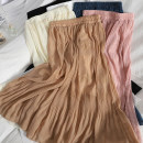 skirt Spring 2021 Average size Apricot, white, black, khaki, blue, pink Mid length dress Versatile High waist High waist skirt Solid color Type A 71% (inclusive) - 80% (inclusive) other