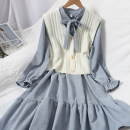 Dress Autumn 2020 Average size longuette Two piece set Long sleeves commute stand collar Elastic waist Solid color Socket Ruffle Skirt routine Type A Korean version Bows, ruffles, bandages 81% (inclusive) - 90% (inclusive) corduroy