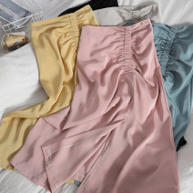 skirt Spring 2021 Average size Apricot, black, yellow, green, pink, blue gray Mid length dress Versatile High waist A-line skirt Solid color Type A 18-24 years old 71% (inclusive) - 80% (inclusive) other zipper