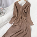 Dress Winter 2020 Black, purple, khaki, coffee Average size longuette singleton  Long sleeves commute V-neck High waist Solid color Socket One pace skirt routine Type A Korean version Bow tie 81% (inclusive) - 90% (inclusive) knitting