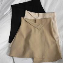 skirt Spring 2021 S,M,L,XL Apricot, black, khaki Short skirt Versatile High waist Irregular Solid color Type A 71% (inclusive) - 80% (inclusive) other zipper
