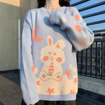 Wool knitwear Autumn 2020 Average size blue Long sleeves singleton  Socket other 30% and below Sweet Cartoon animation 18-24 years old college
