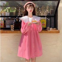 Dress Spring 2020 Yellow, pink Average size Middle-skirt singleton  Long sleeves Sweet Doll Collar High waist Solid color Single breasted bishop sleeve Others 18-24 years old Type A solar system
