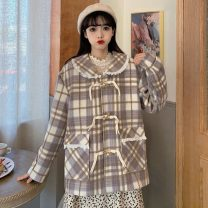 short coat Winter 2020 S,M,L Check pattern Long sleeves routine routine singleton  Straight cylinder Sweet routine Single breasted lattice 18-24 years old Button polyester fiber