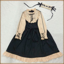 Dress Autumn of 2019 Apricot and black, headdress Average size Mid length dress singleton  Long sleeves Sweet stand collar High waist zipper Princess Dress Others 18-24 years old Other / other Bowknot, lace up, stitching, bandage, zipper solar system