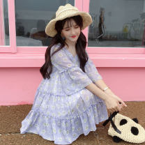 Dress Summer of 2019 Purple, pink S,M,L Middle-skirt singleton  elbow sleeve Sweet V-neck High waist Decor Socket Cake skirt routine Others 18-24 years old Type A Other / other Lotus leaf edge 51% (inclusive) - 70% (inclusive) Chiffon nylon solar system