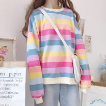 Sweater / sweater Autumn of 2019 Picture color Average size Long sleeves routine Socket singleton  routine Crew neck easy Sweet bishop sleeve stripe 18-24 years old 81% (inclusive) - 90% (inclusive) Other / other cotton cotton Cotton liner solar system