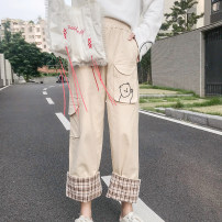 Casual pants Apricot, black S, M Autumn of 2019 Straight pants 18-24 years old 96% and above Other / other cotton