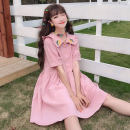 Dress Summer of 2019 Average size Middle-skirt singleton  Short sleeve Sweet Doll Collar Loose waist Single breasted routine 18-24 years old Other / other 51% (inclusive) - 70% (inclusive) college