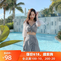Split swimsuit special counter Light grey XL,L,M,XXL Skirt split swimsuit With chest pad without steel support Spandex, polyester, others female V-neck