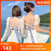 one piece  special counter XL,M,L white , White triangle Skirt one piece With chest pad without steel support Nylon, spandex female Short sleeve Casual swimsuit