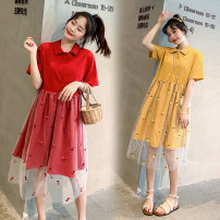 Women's large Spring 2021, summer 2021 Yellow, red Large XL, large XXL, large XXXL, large XXXXL, s, m, l Dress singleton  commute Straight cylinder thin Socket Short sleeve Solid, plaid Polo collar Polyester, polyester, cotton Three dimensional cutting puff sleeve 18-24 years old Gauze Medium length