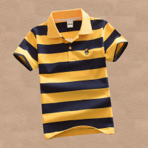 T-shirt Other / other male summer Short sleeve Lapel and pointed collar leisure time No model nothing cotton stripe Cotton 95% polyurethane elastic fiber (spandex) 5% Class B Sweat absorption