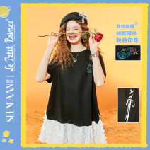 Dress Summer 2021 Chaoku Girl Black chaoku Girl Black pre sale April 28 S M L XL Mid length dress Short sleeve middle-waisted A-line skirt routine 18-24 years old Seenfaan / in full bloom BSQ022 More than 95% cotton Cotton 100%